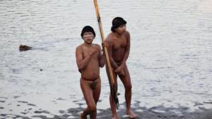 This image of two members of the tribe was released by the Brazilian organization FUNAI.